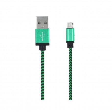 Kabel micro USB Forever pleciony zielony